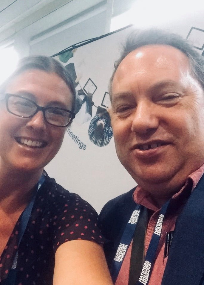 Gemma Walford of Azeus Convene and Mike Fuller of Hanover Housing at the NHF 2018